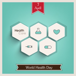 Abstract World Heath Day Concept With Stickers On Green Background.