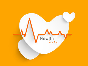 Abstract World Heath Day Concept With Stylish Heart Shape And Heart Beat On Yellow Background.