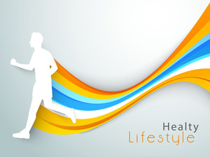 Abstract World Heath Day Concept With White Silhouette Of Young Athletes On Shiny Waves Background.