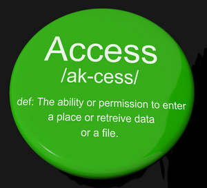 Access Definition Button Showing Permission To Enter A Place