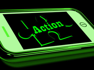 Action On Smartphone Showing Urgent Activism