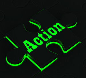 Action Puzzle Showing Motivation And Activism