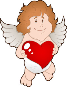 Adorable Cupid With Heart