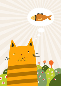 Adorable Red Cat Is Thinking About Tasty Fish