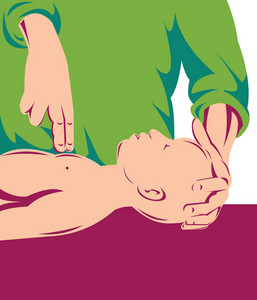 Adult Performing Cpr On An Infant Child