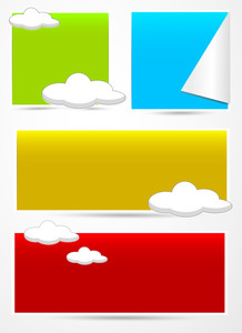 Advisement Clouds Banners Vectors