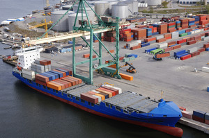 aerial image of container port and ship