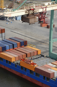 aerial image of container port