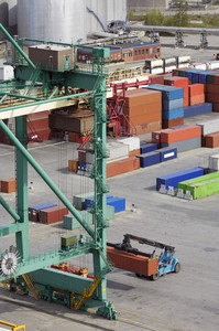 aerial shot of container port