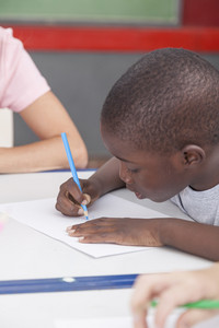 African boy drawing