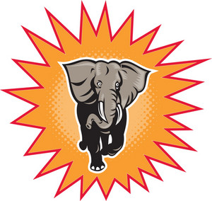 African Elephant Charging Halftone Dots