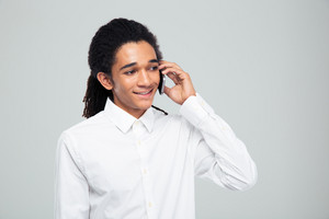 Afro american businessman talking on the phone