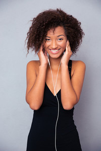 Afro american woman with headphones