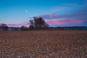 After sunset landscape of sky with moon and red clouds over plowed field.