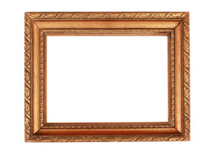 Aged Wooden Frame Isolated