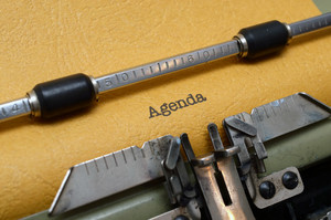 Agenda Text On Typewriter