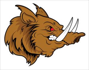 Aggressive Head Pig Mascot