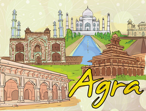 Agra Doodles Vector Illustration