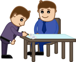 Agreement Signed - Cartoon Office Vector Illustration