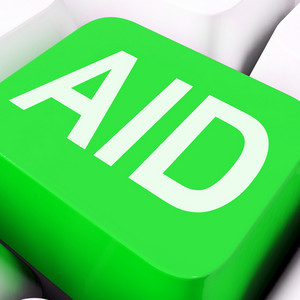 Aid Key Shows Help Assist Or Assistance