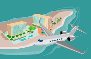 Airplane Flying On Beach Resort