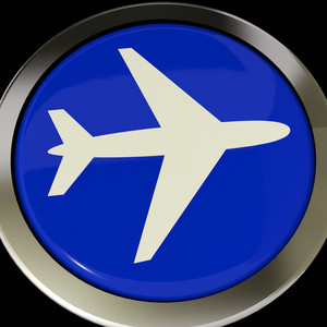 Airplane Icon Or Button Expressing Travel Or Airport