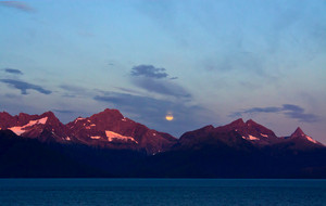 Alaskan Moonset And Sunrise