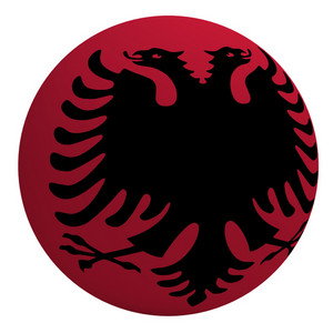 Albania Flag On The Ball Isolated On White.