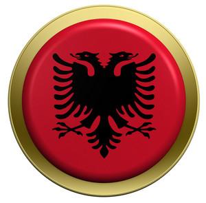 Albania Flag On The Round Button Isolated On White.