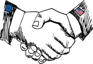Alliance Between Countries. Sketch Of Business Hand Shake Between Two Colleagues. Vector Illustration