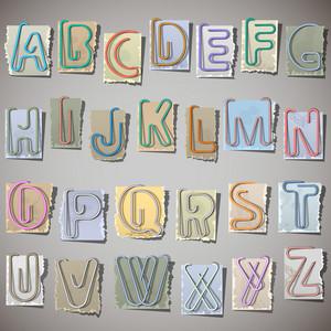 Alphabet On Old Paper