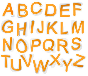 Alphabet Set Of Symbols In The Form Of Stickers. With Curls