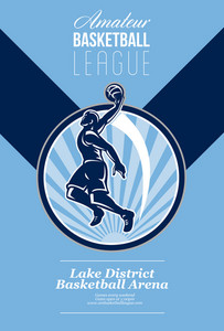 Amateur Basketball League Retro Poster