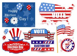 America Election Day Vector Illustration Set
