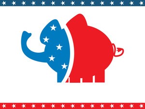 American Background With Elephant