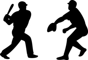 American Baseball Player Batting Pitching