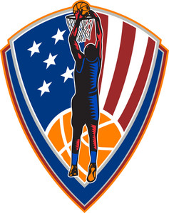 American Basketball Player Dunk Ball Shield Retro