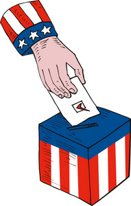 American Election Voting Ballot Box Retro