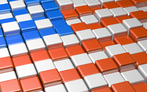 American Flag Formed By Cubes