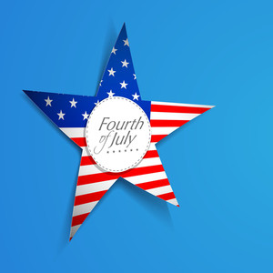 American Flag In Star Shape On Blue Background