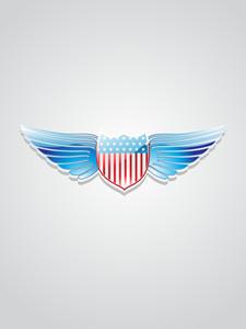 American Flag Inlay On Shield Emblem