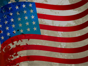 American Flag With Grungy Pattern For Independent Day.