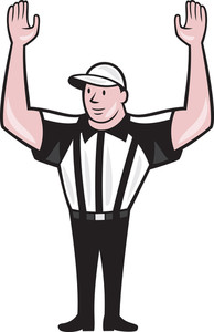 American Football Referee Touchdown Cartoon