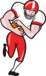 American Football Running Back Ball Cartoon