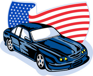 American Ford Gt Muscle Car With Flag