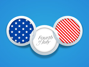 American Independence Day Background With Flag Badge