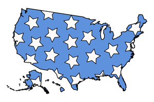 American Map Filled With Stars On 4th Of July Vector