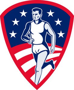 American Marathon Athlete Sports Runner Shield