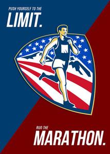 American Marathon Runner Push Limits Retro Poster