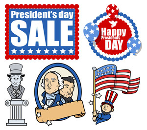 American Patriotic Theme Design Holiday Presidents Day Vector Set